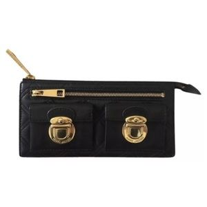 Marc Jacobs Black Quilted Leather Clutch Wallet